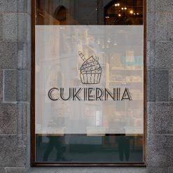 naklejka na okno cukiernia logo