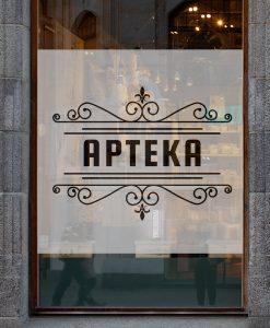 naklejka na okno logo apteki