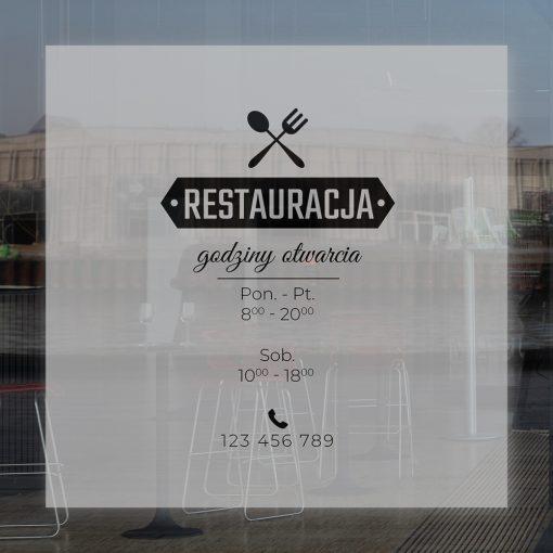 naklejka na witrynę godziny otwarciai logo restauracji
