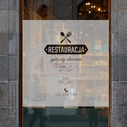 naklejka godziny otwarciana okno restauracji