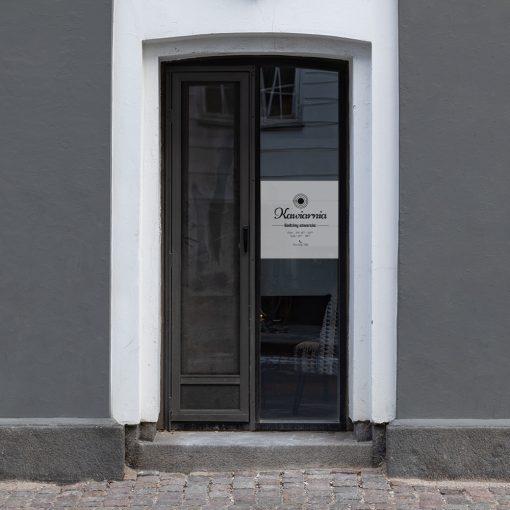 naklejka na okno lub witrynę kawiarnia godziny otwarcia