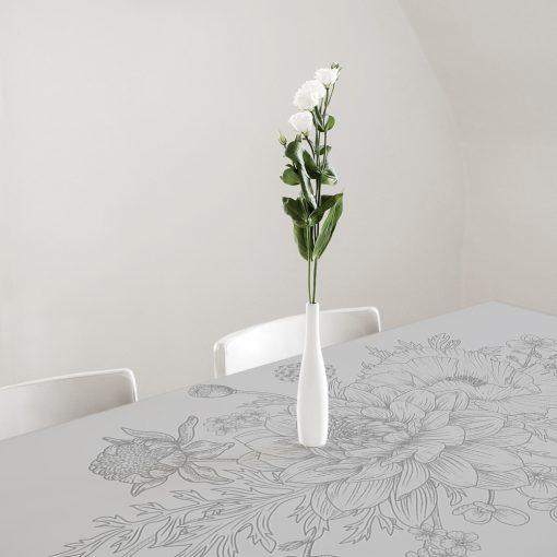 naklejka z motywem kwiatów na szklany stół
