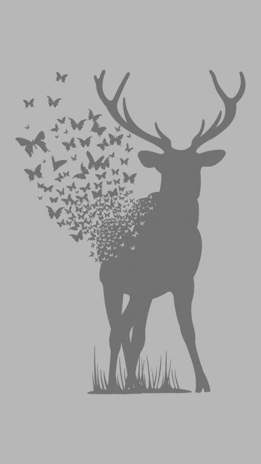 naklejka z jeleniem i motylami na szklany blat