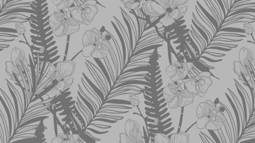 naklejka liście palmy i orchidee szklany stół