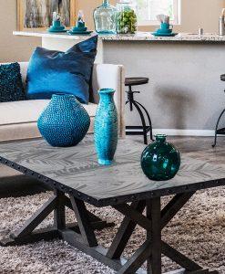 naklejka na szklany stół liście palmy i orchidee