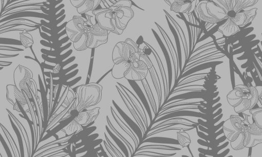 naklejka mrożona z magnolią i liśćmi palmy