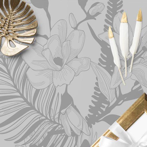 naklejka magnolia i lilia na szklany stół
