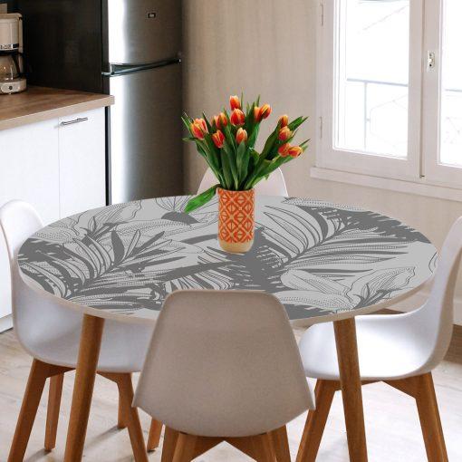 naklejka na blat szklanego stołu lilie i palmy