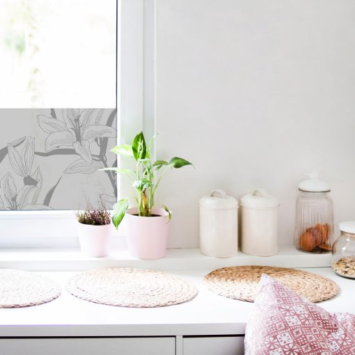 naklejka mrożona na okna lilie