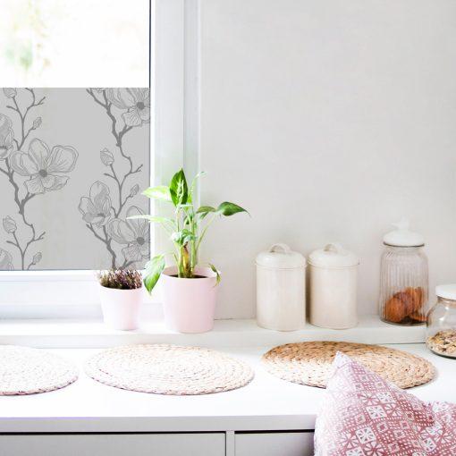 naklejka mrożona na okno z efektem piaskowanego szkła magnolie