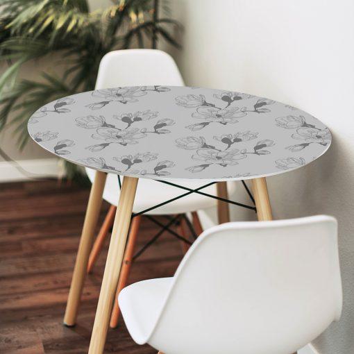 naklejka na szklany stół kwiaty magnolii