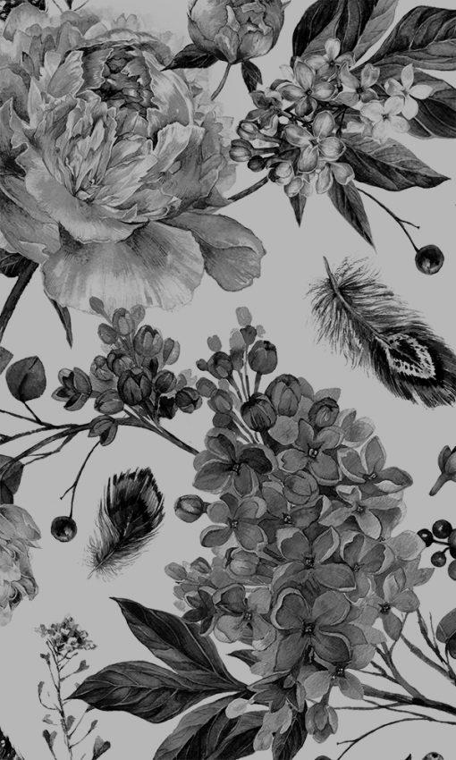 naklejka mrożona na szyby z motywem kwiatów piwonii i bzu
