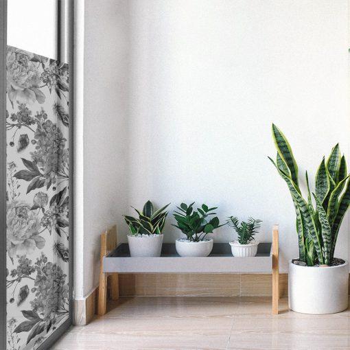 naklejka matująca okna kwiaty