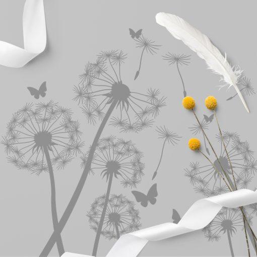 naklejka dmuchawce i motyle na szklany stół