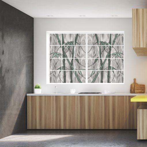 naklejka witrażowa bambusy