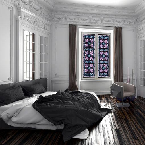 fioletowo-niebieski witraż samoprzylepny