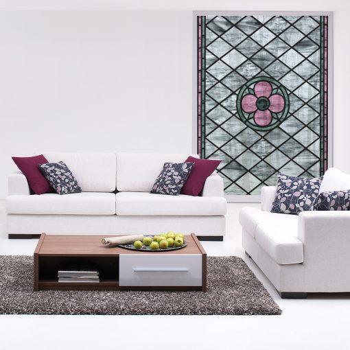 witraż samoprzylepny z różowym kwiatem