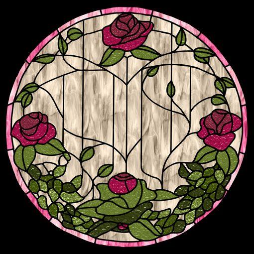 witraż samoprzylepny z motywem kwiatów