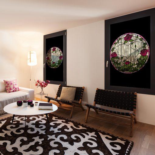 witraż samoprzylepny kwiaty róż