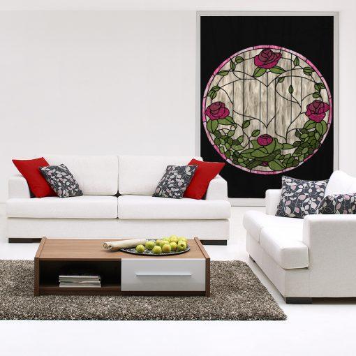 witraż samoprzylepny róże i liście