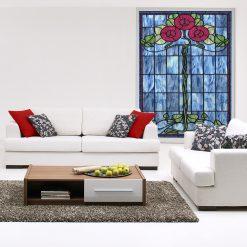 naklejka witrażowa z kwiatami róż