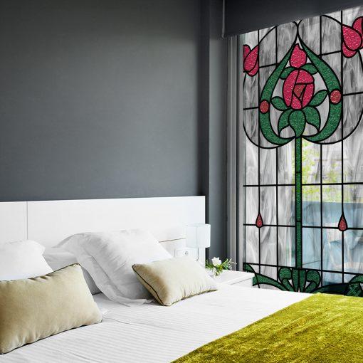 witraż samoprzylepny kwiaty i łodyga