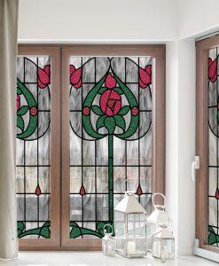 witraż samoprzylepny czerwone kwiaty