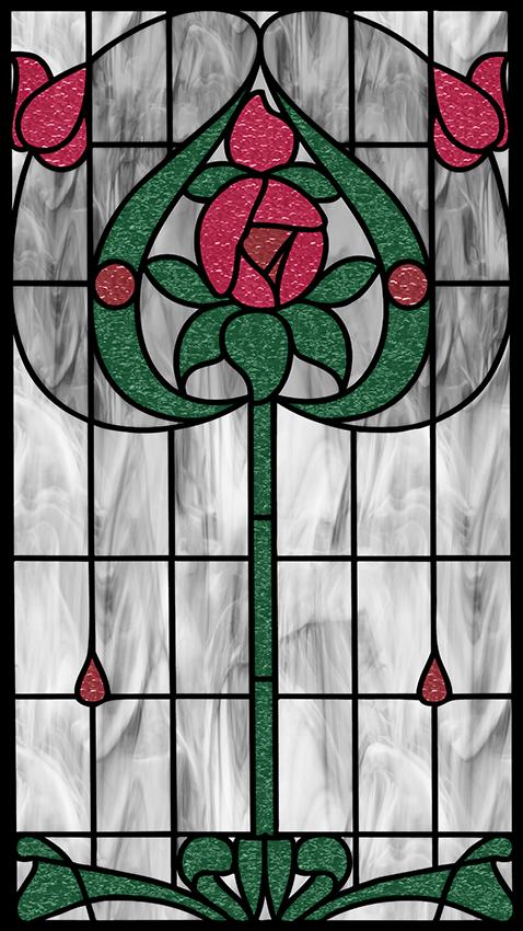 witraż samoprzylepny kwiaty i łodygi