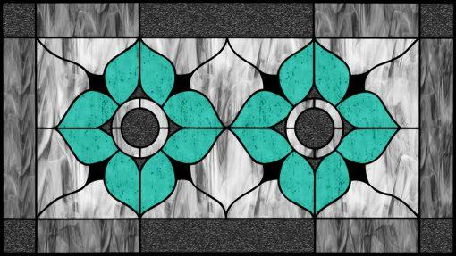 naklejka witrażowa turkusowe kwiaty
