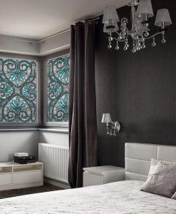 naklejka witrażowa turkusowe ornamenty