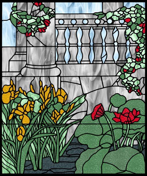 naklejka witrażowa ogród