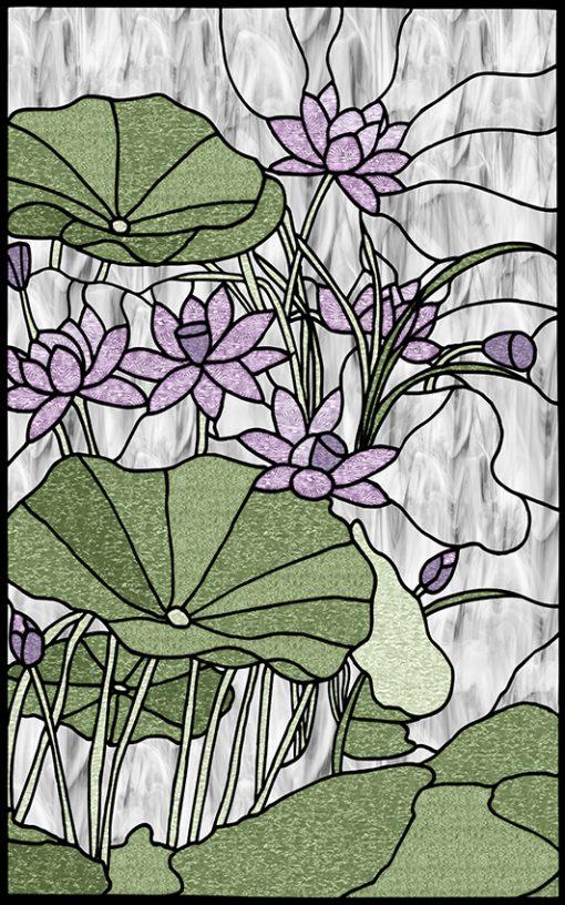 naklejka z witrażem lilii wodnych