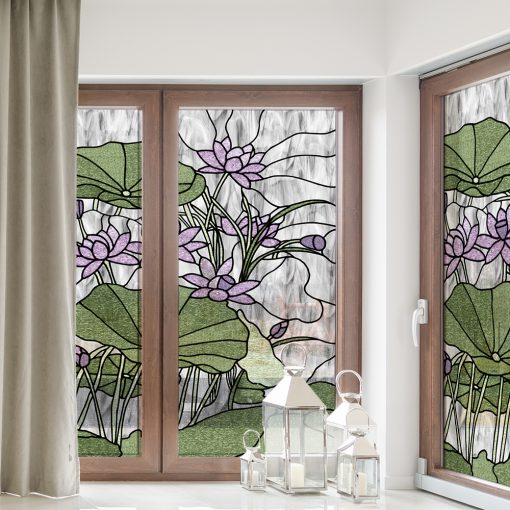 naklejka witrażowa z fioletowymi liliami