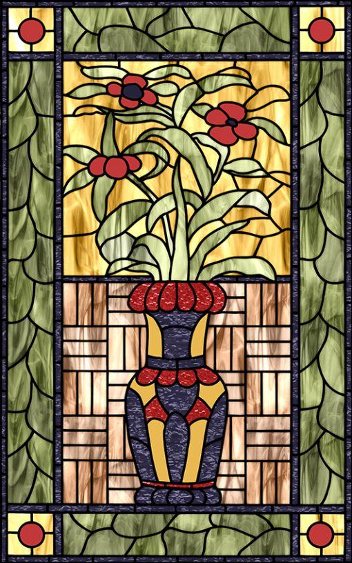 witraż samoprzylepny z kwiatami w wazonie