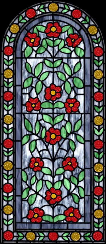 naklejka witrażowa żółto czerwone kwiaty