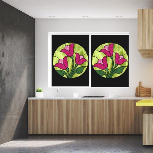 naklejka witrażowa z motywem kwiatów