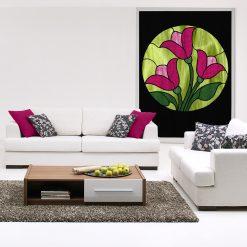 naklejka witrażowa tulipany