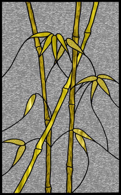 naklejka witrażowa ze wzorem bambusa