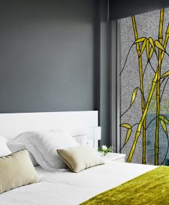 naklejka witrażowa żółte bambusy