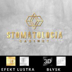 Nalepka ze złotym logiem 3d - stomatologia