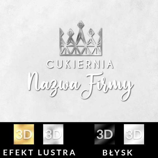 Logotyp 3d z koroną do cukierni