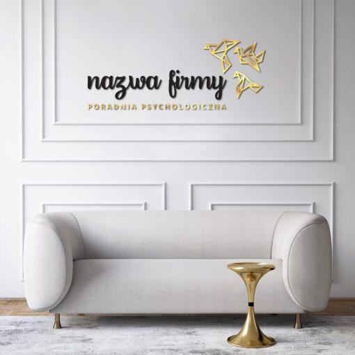 Trójwymiarowe logo z nazwą firmy i gołębiami do poradni psychologicznej