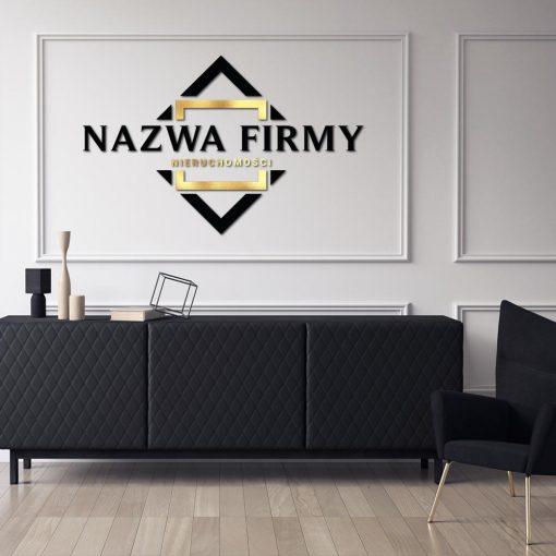 Przestrzenne logo dla biura nieruchomości z geometrycznym ornamentem