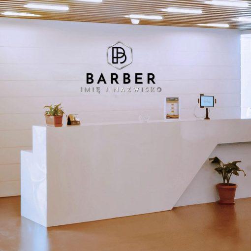 Przestrzenna dekoracja dla barber studio