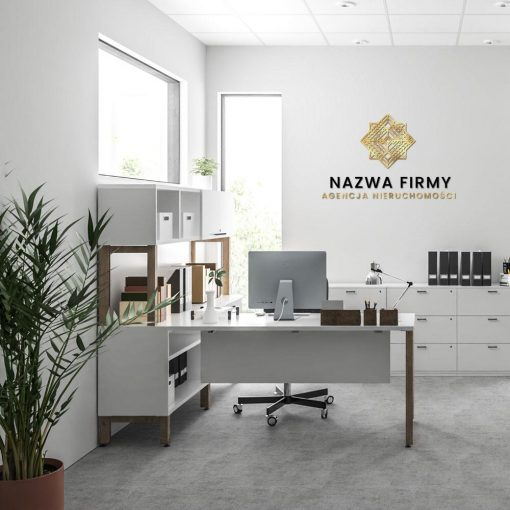 Biuro nieruchomości - logotyp przestrzenny z geometryczną ozdobą