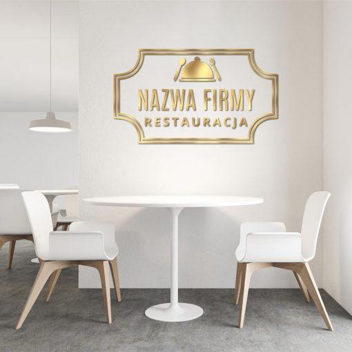 Logotyp 3d z ozdobnym daniem dla restauracji