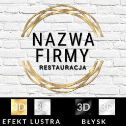 Logotyp 3d ze złota ramką dla restauracji