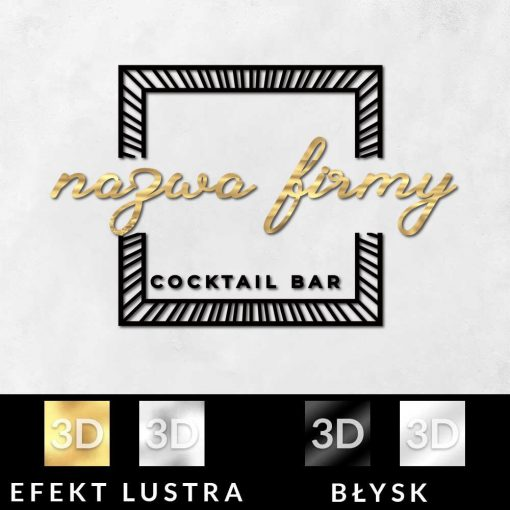 Ozdobny logotyp 3d z ramką do cocktail baru