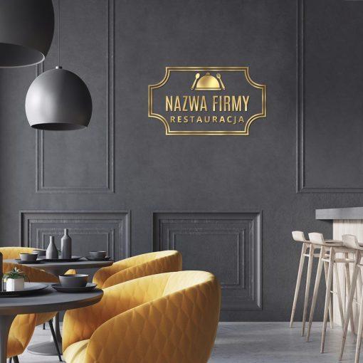 Przestrzenne logo ze sztućcami i daniem dla restauracji
