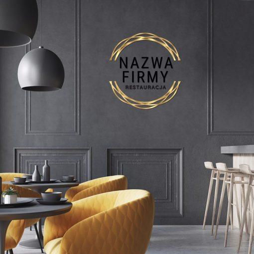 Przestrzenny znak firmowy ze złota ramką do restauracji